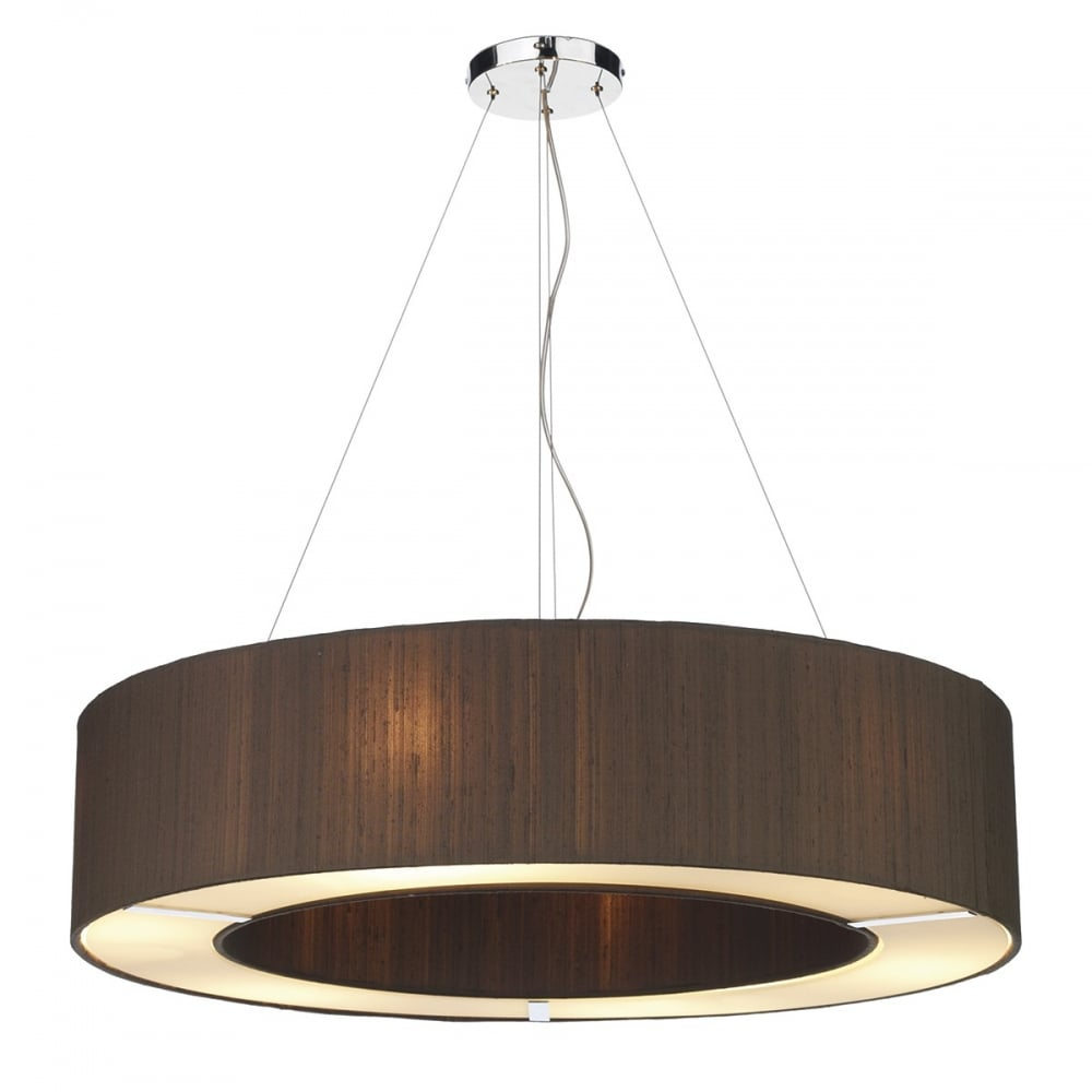 Retro style large circular dark brown silk pendant light shade on wires polo circular nutmeg silk ceiling pendant light shade mozeypictures Image collections