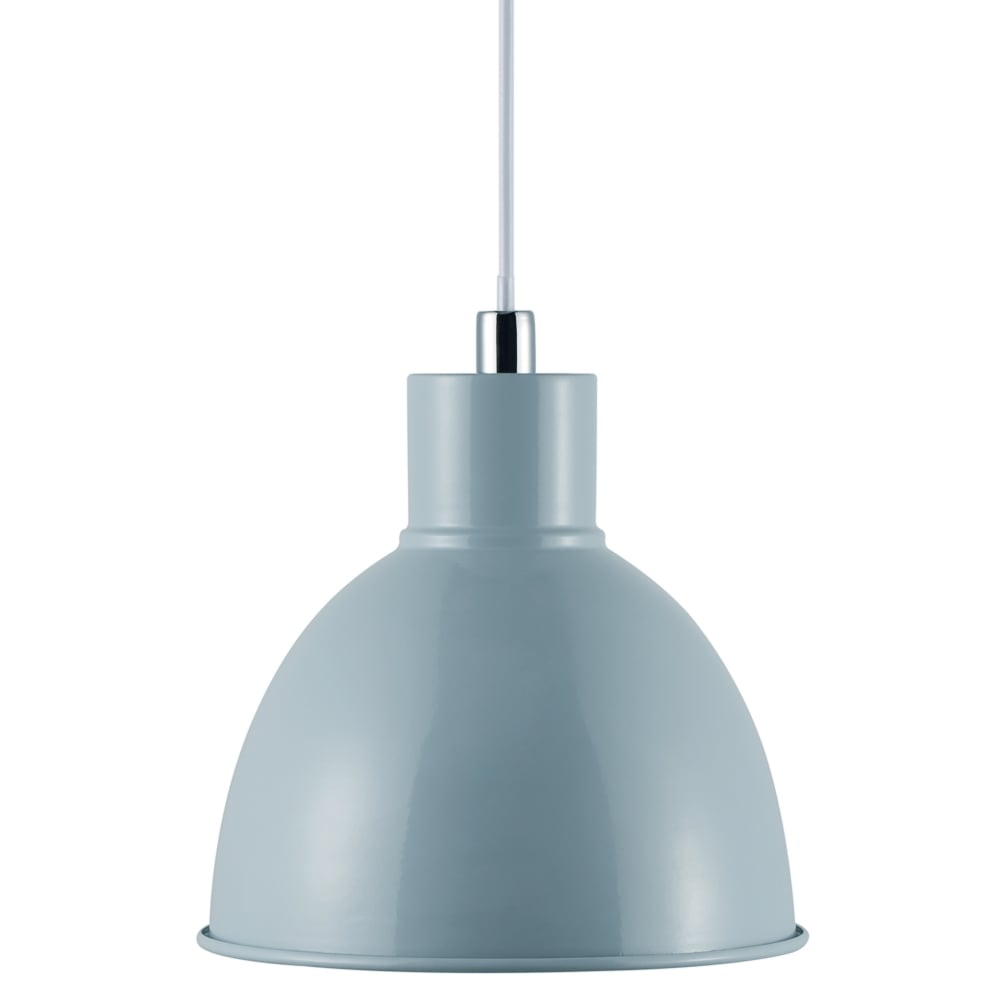 Modern Retro Design Single Ceiling Pendant in Light Blue
