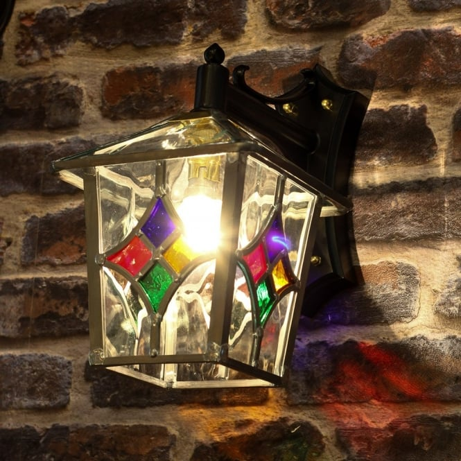 Decorative traditional outdoor wall lantern with stain glass shade decorative stained glass outdoor wall lantern aloadofball Image collections