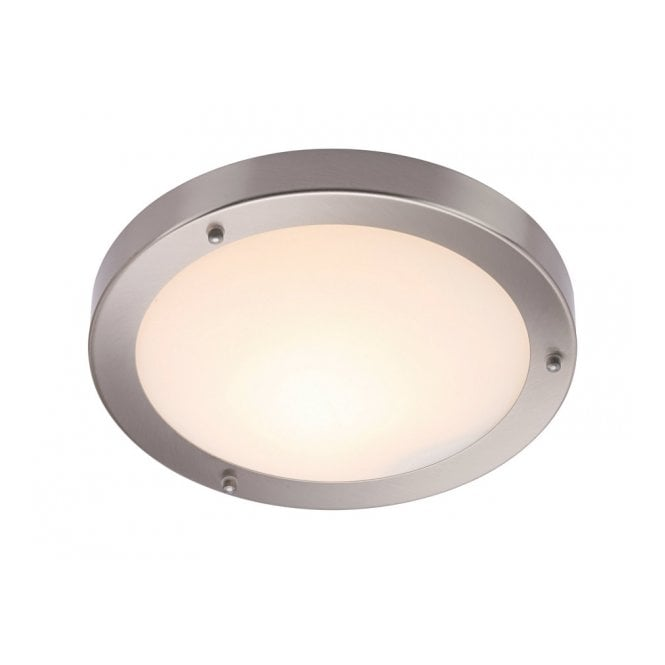 Portico brushed chrome flush bathroom ceiling light