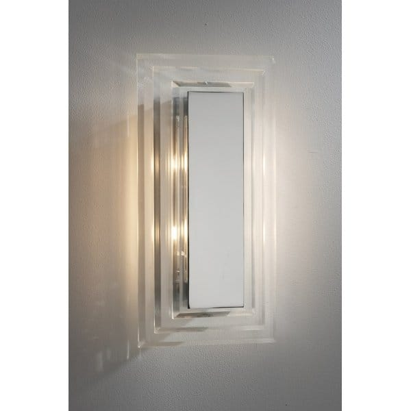 Wall Light Glass Panel : Cutler Modern Chrome and Glass Wall Panel Light