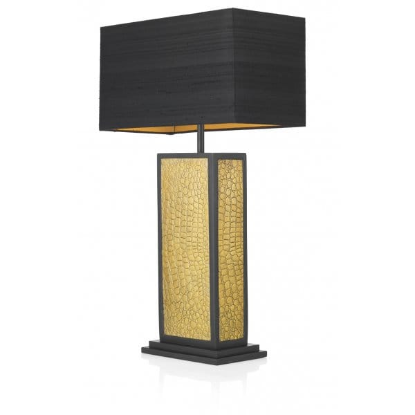 crocodile pattern black gold table lamp square base. Black Bedroom Furniture Sets. Home Design Ideas