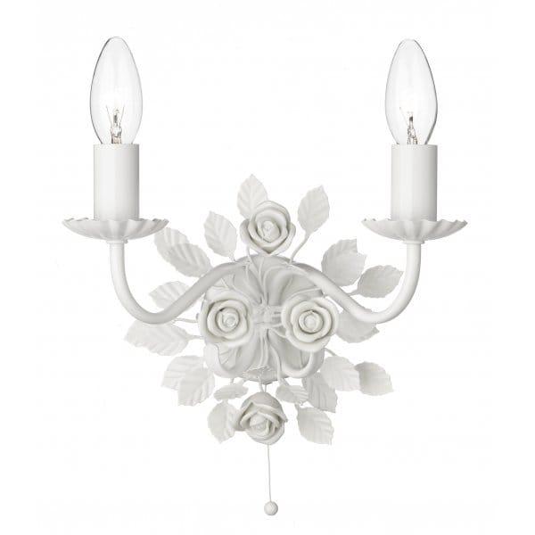 Saskia Double Candle Wall Light White Ceramic Roses Amp Pull