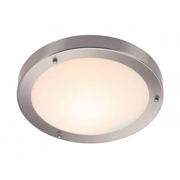 Modern Brushed Chrome Bathroom Ceiling Light Ip44 Rated