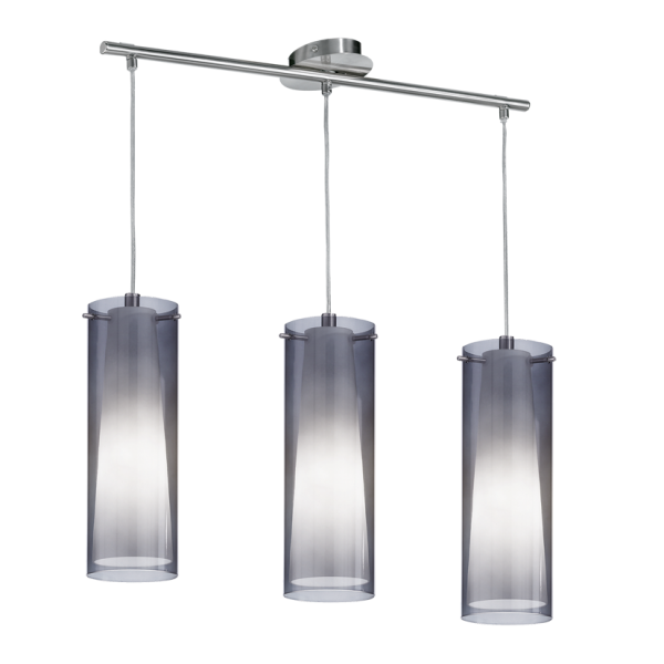 Modern Chrome Amp Glass Ceiling Bar Pendant 3 Light Great
