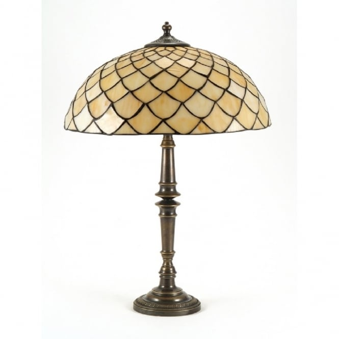 Classic British Lighting CANDLESTICK table lamp, Tiffany glass shade
