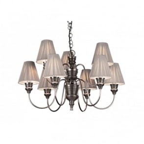 Designer Pewter Double Wall Light & Grey String Shades