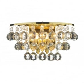 Double Insulated Crystal Wall Lights : Square Gold and Crystal Flush Chandelier for Modern Settings