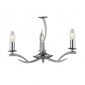 ELKA double insulated satin chrome low ceiling light