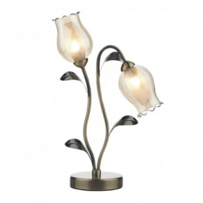 CLIFTON antique brass flower table lamp