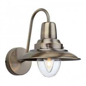 The Lighting Collection FISHERMAN single retro wall light in antique brass