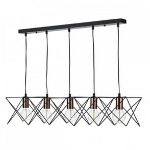 The Lighting Book MIDI contemporary matt black 5 light ceiling bar pendant