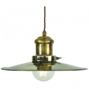 Large Edison Pendant  Antique Brass C/W LB3 Bulbs