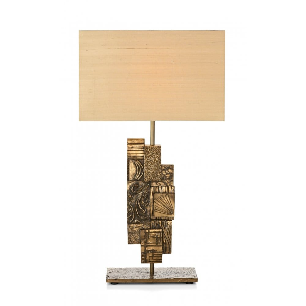 Abbey Jigsaw Bunching Table: A Jigsaw Designed Bronze Table Lamp Suitable For 5amp