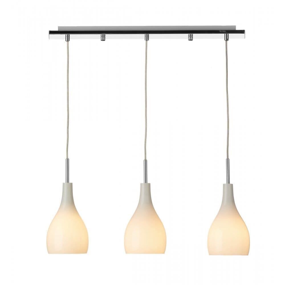 Nexus 20 Triple Bar Pendant: Soho Bar Pendant With 3 Opal White Glass Lights Supended
