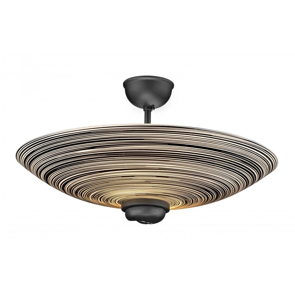 Swirl Black Glass Ceiling Uplighter For Low Ceilings