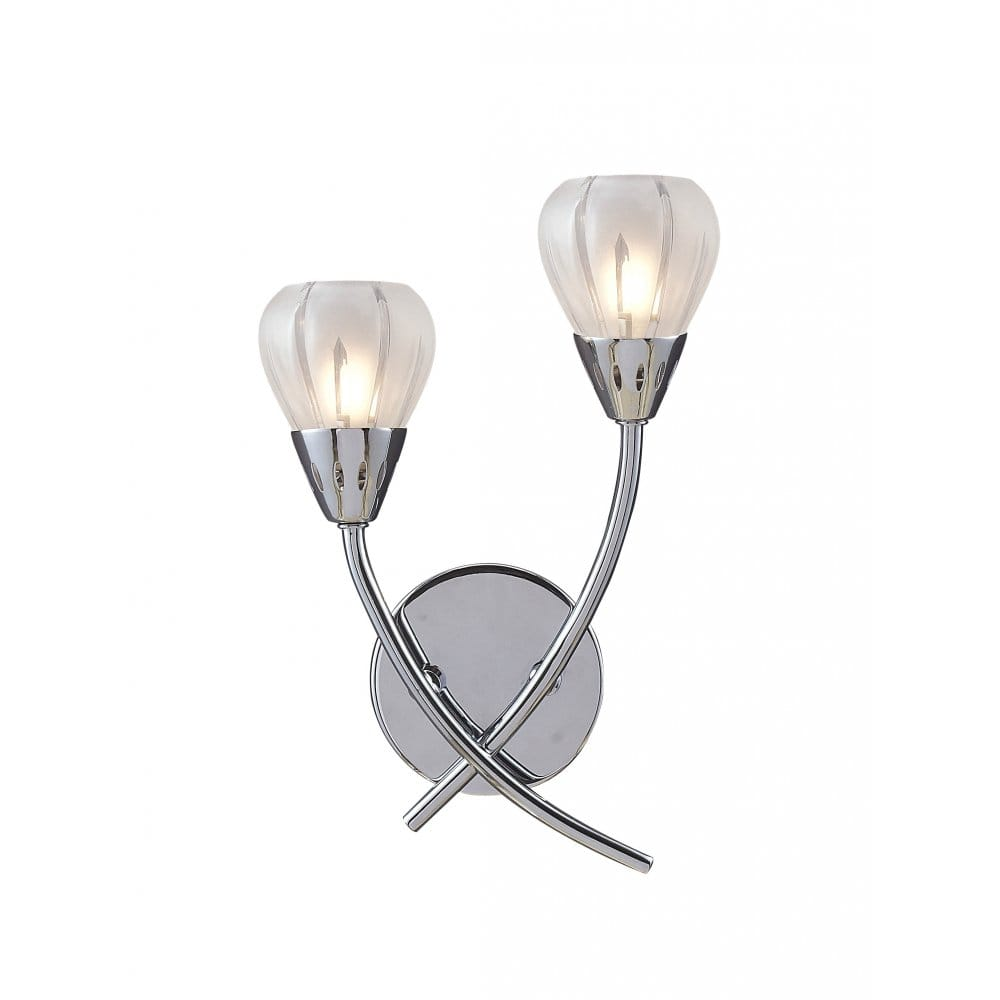 Double Insulated Crystal Wall Lights : Modern Villa Wall Light with Tulip Glass Shades