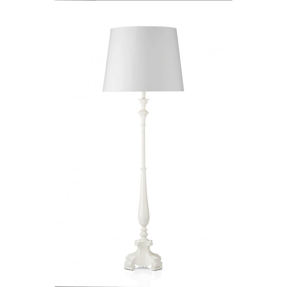 Webster double insulated gloss white standard lamp and shade for Tecton floor lamp white