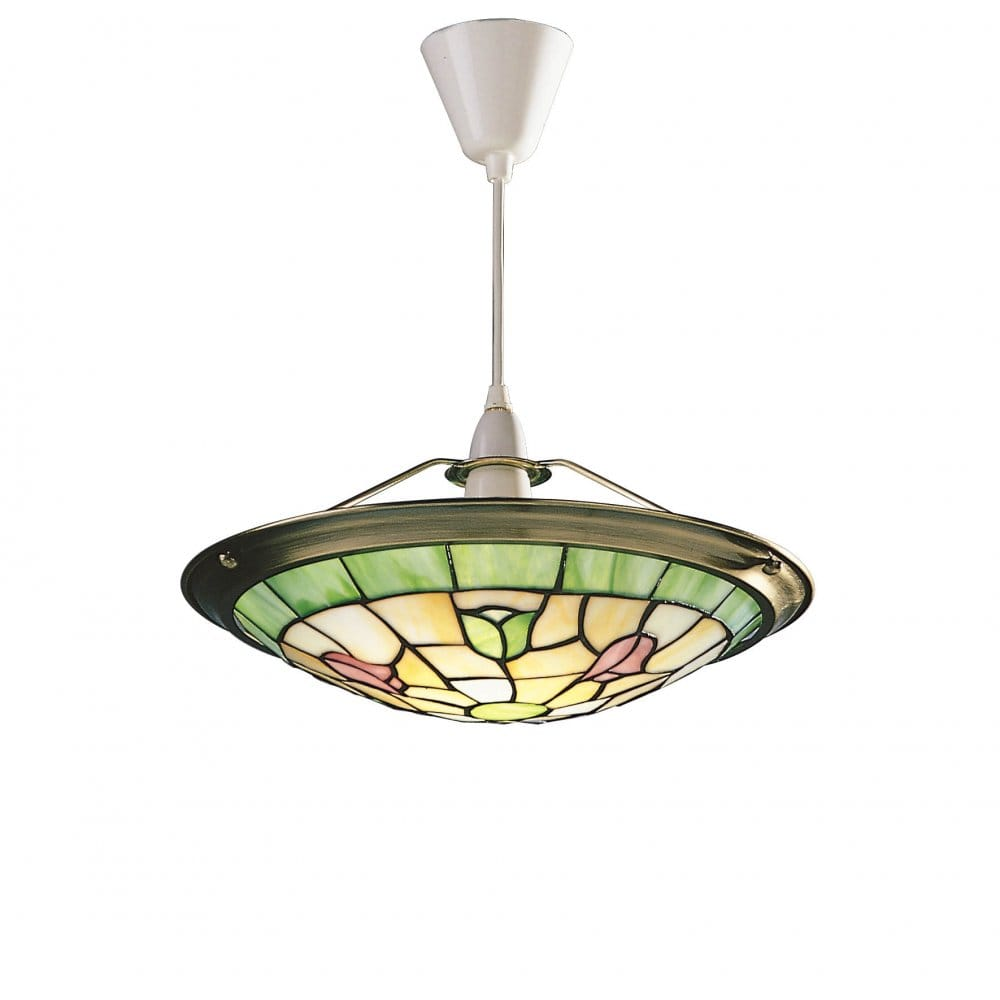 Ceiling lights tiffany style : Bluebell easy fit tiffany glass ceiling uplighter