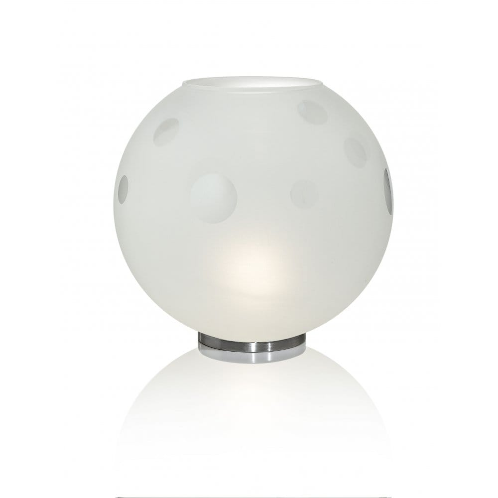 circular white glass table lamp with circles pattern