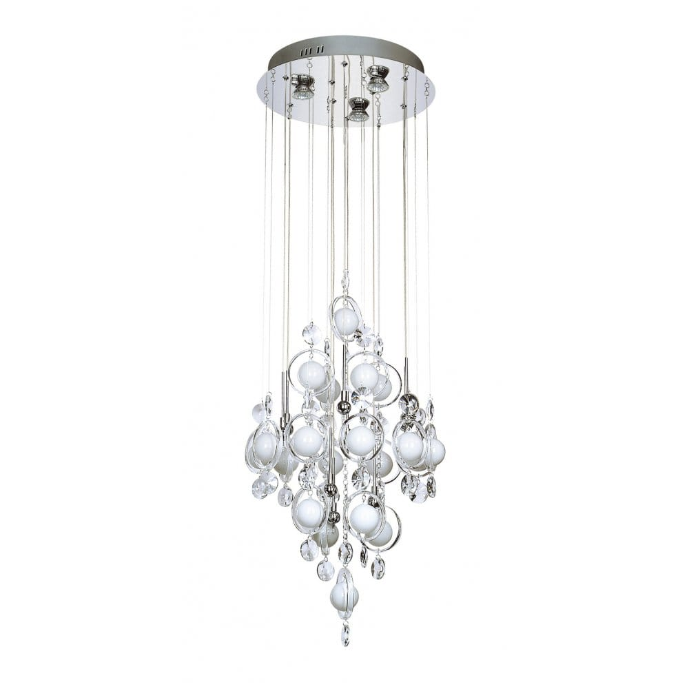 Modern pendant lighting for high ceilings : Modern pendant light with glass baubles on wires