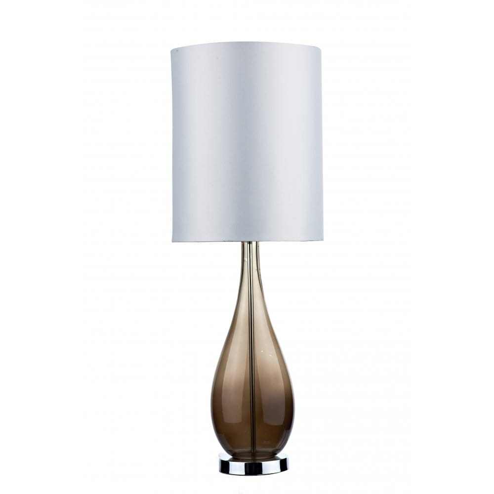 modern brown glass table lamp with white faux silk shade. Black Bedroom Furniture Sets. Home Design Ideas