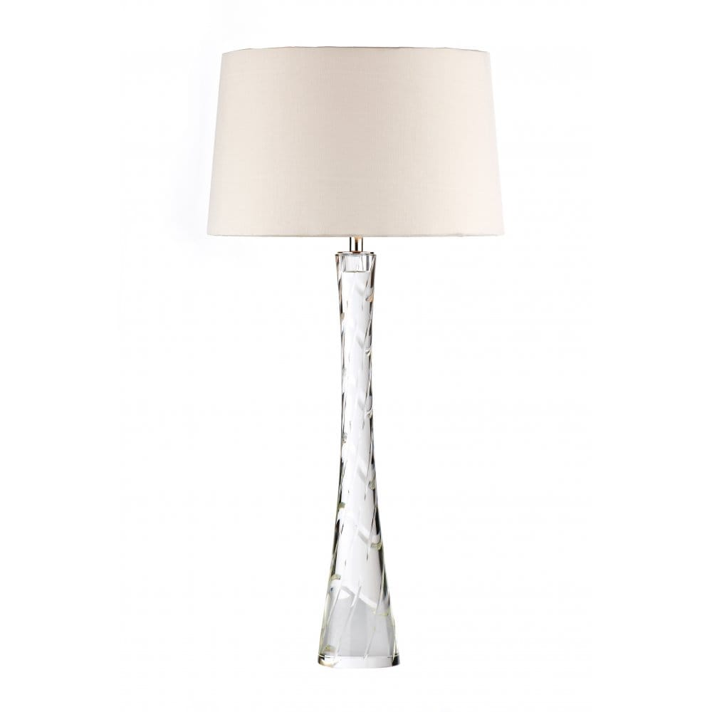 Tall Slim Crystal Table Lamp With Mushroom Faux Silk Shade
