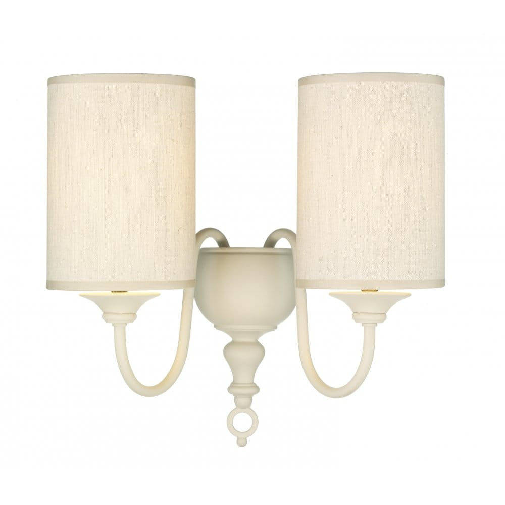 Traditional wall lights, antique cream light complete with shades.