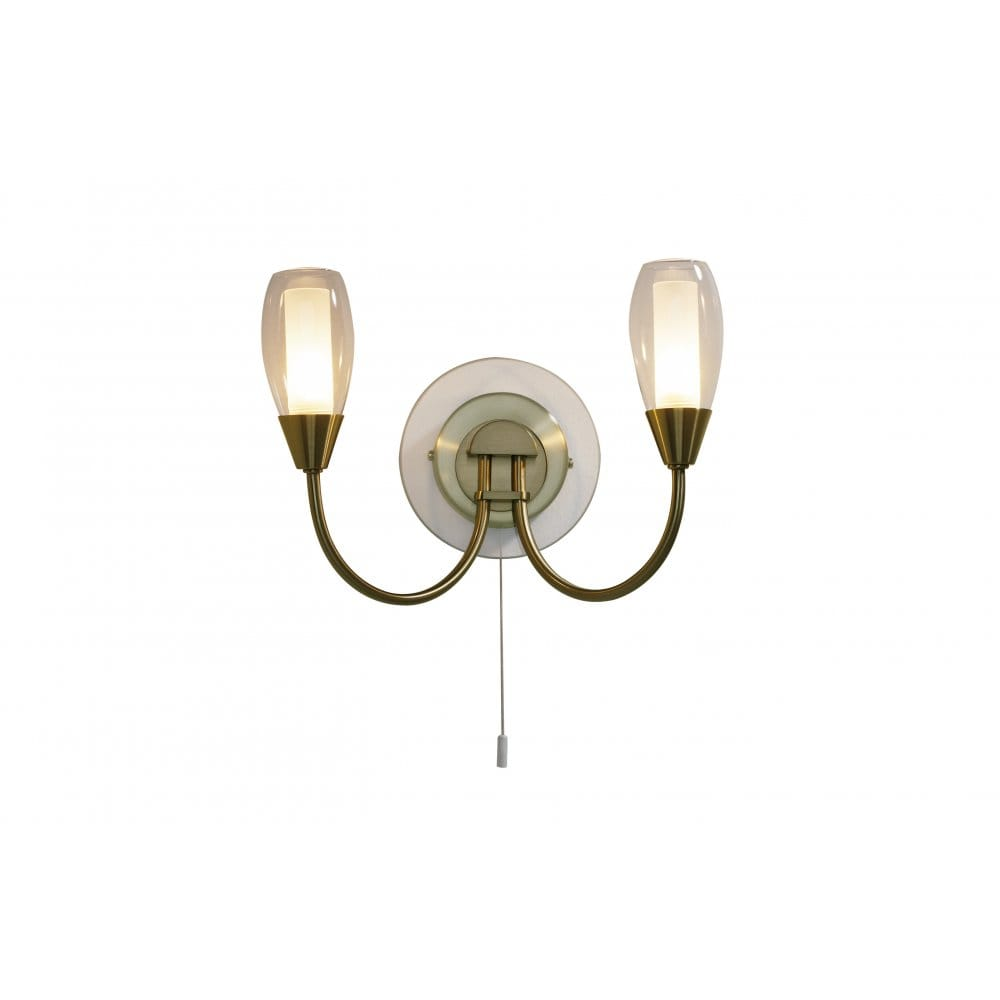 Buy Double Wall Lights with Switch. Tugel Antique Brass Side Light with Pull Cord.