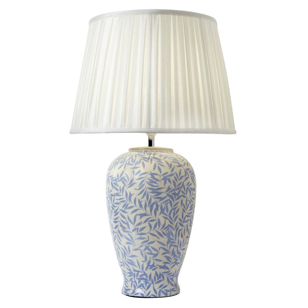 Blue cream ceramic base table lamp with pleated shade for Ceramic table lamps