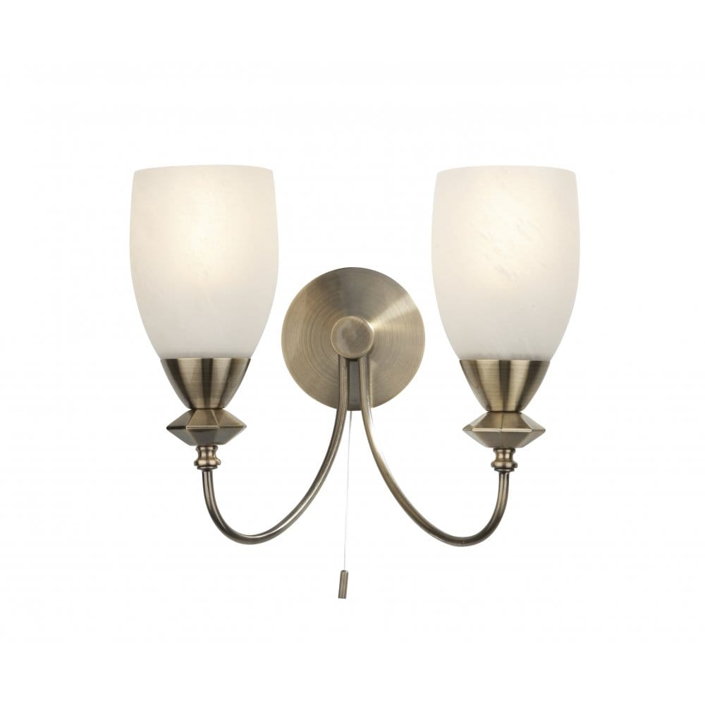 Low Energy Twin Wall Light In Antique Brass With Switch