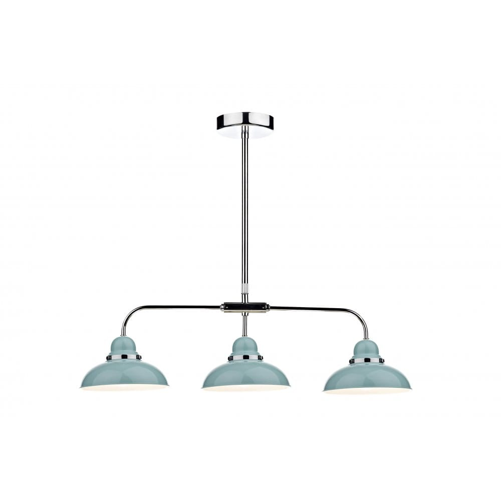 Triple Pendant With 3 Pale Blue Gloss Lights On Long Bar
