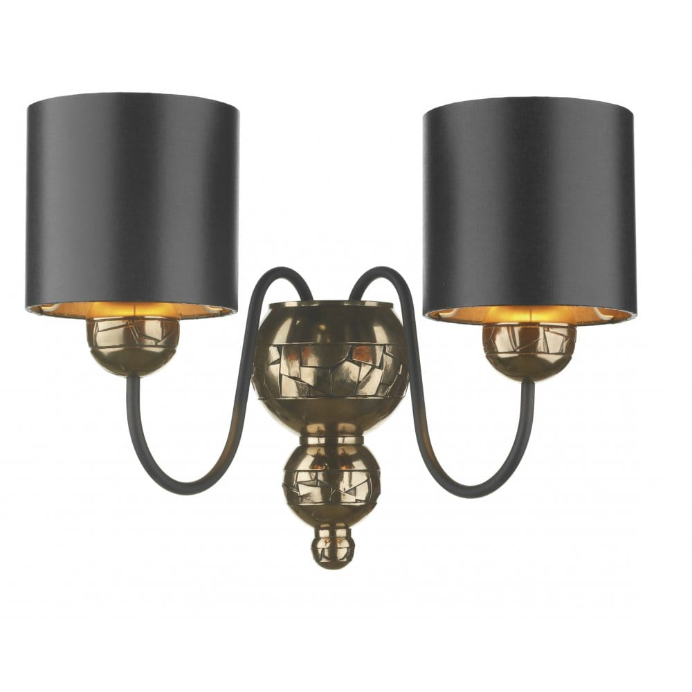 Black Wall Lamp Shades : Traditional Bronze Double Wall Light Black Fabric Shades Double Insulated