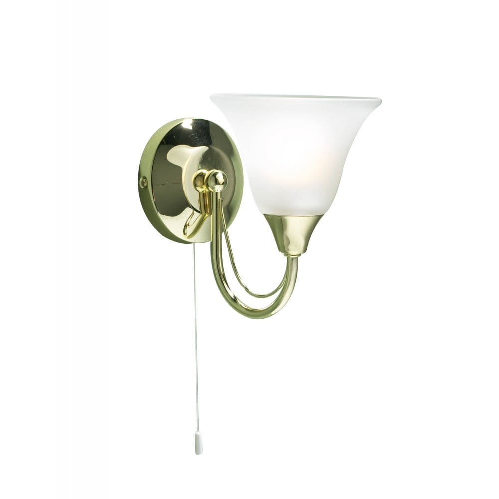 Derwent Single Wall Light in Gold Brass Plated Finish with Pull Switch