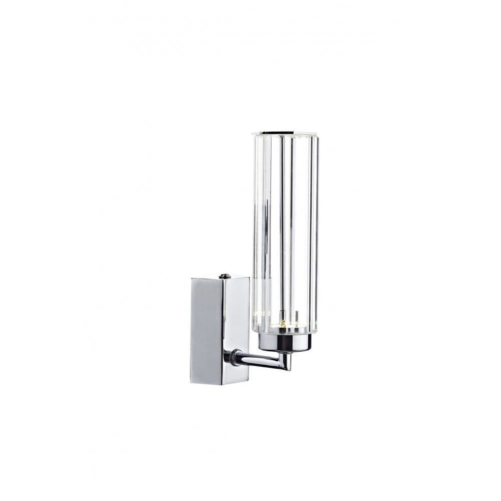 Modern Chrome & Crystal LED Single Wall Light, Hexagonal Tube Shade
