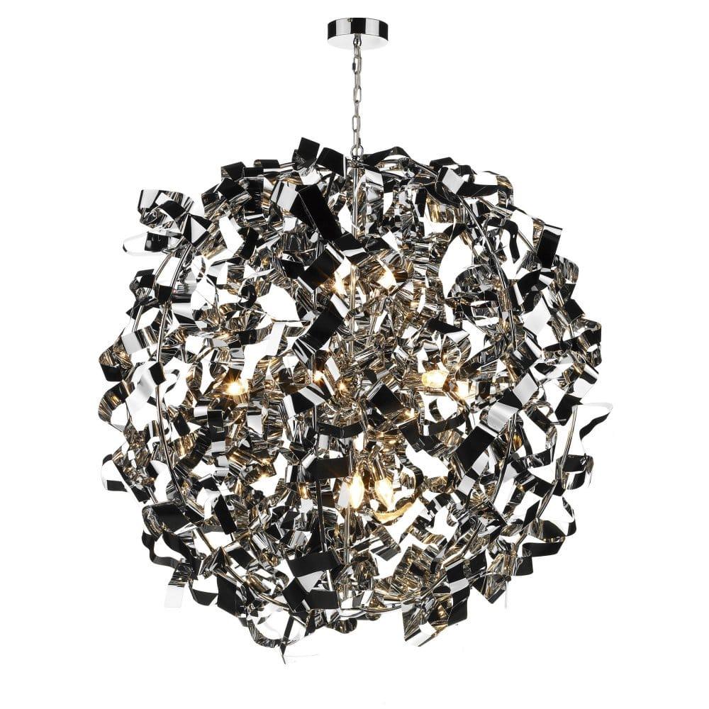 Large Ultra Modern Ball Ceiling Pendant Light Chrome Metal