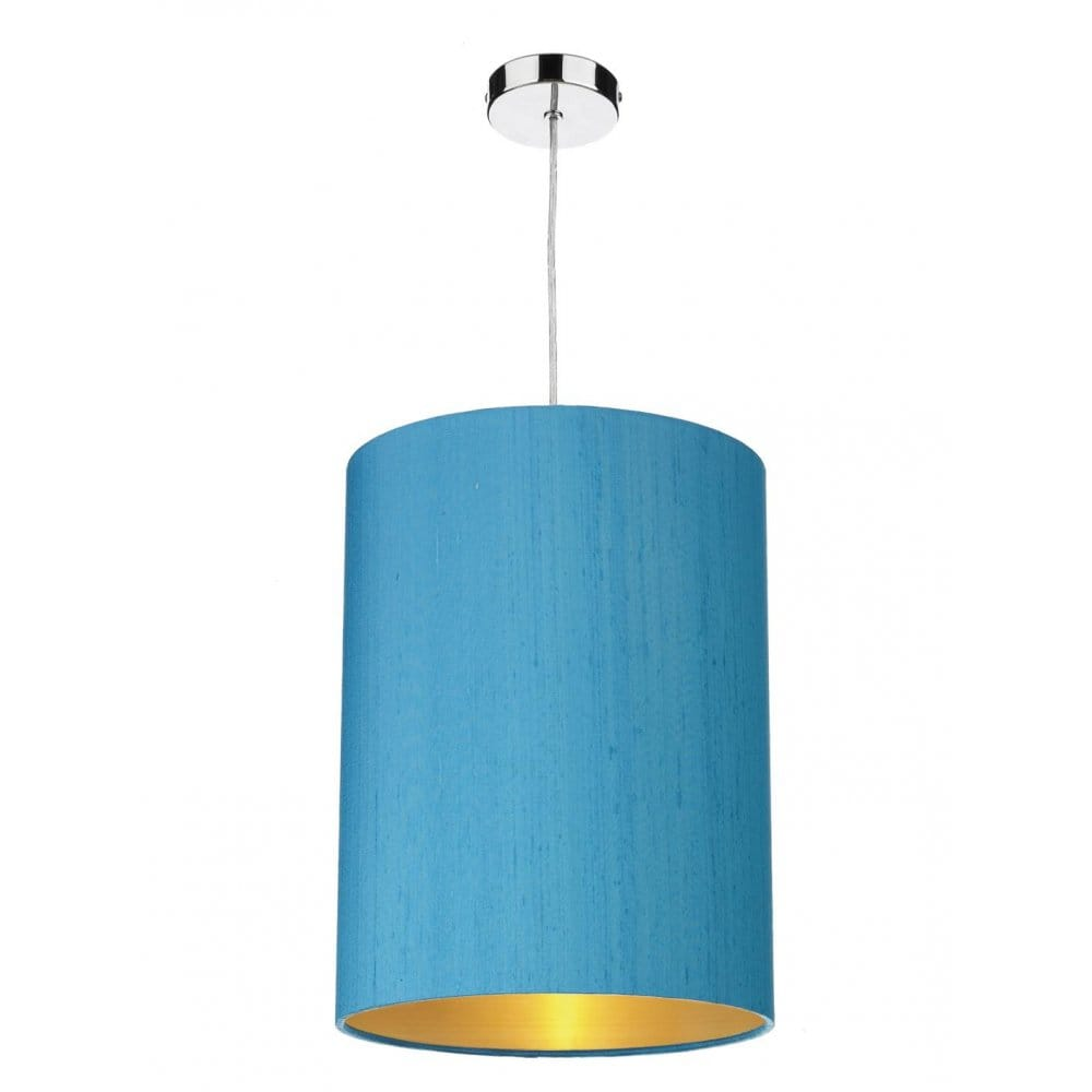 blue silk ceiling light shade lined in gold easy fit. Black Bedroom Furniture Sets. Home Design Ideas