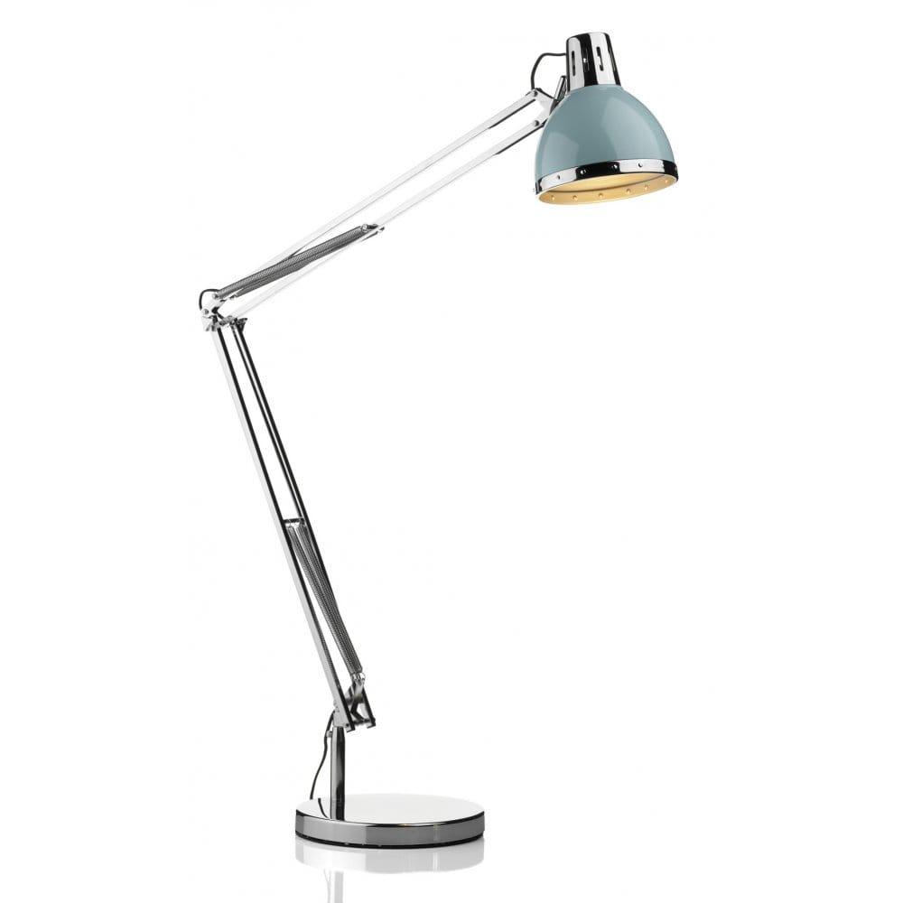 Anglepoise Wall Light Chrome : Anglepoise Adjustable Chrome Floor Lamp, Chrome with Gloss Blue Head
