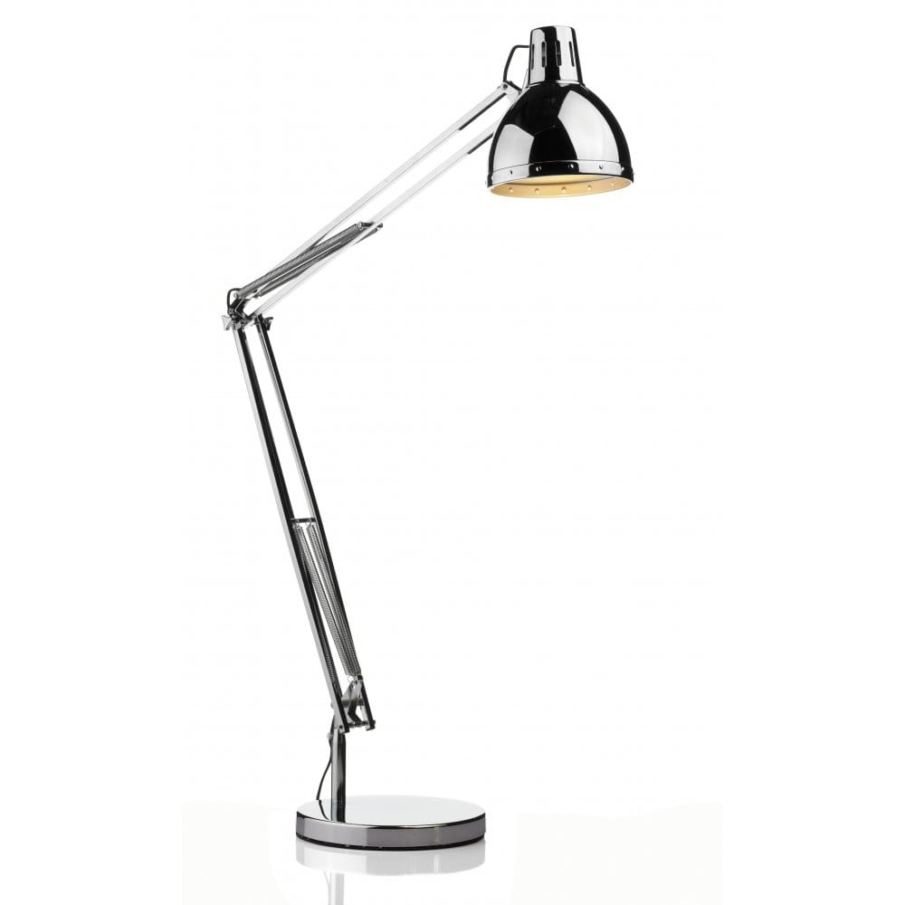 Polar adjustable jointed arm chrome retro floor standing light for Floor lamp with dual reading lights