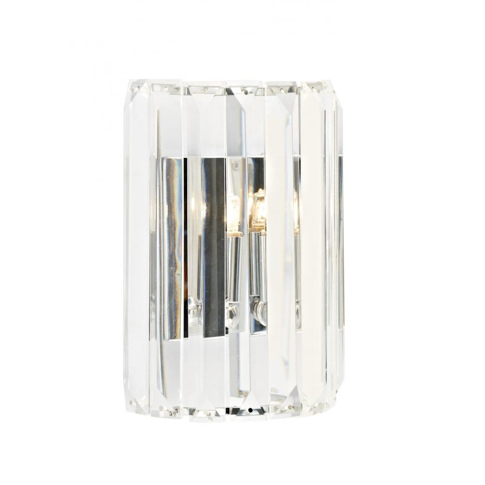 Curved Wall Panel Light, Crystal Glass Rods Surround Chrome Fitting