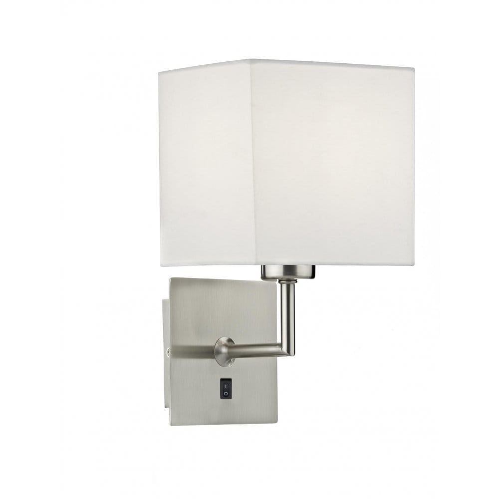 Wall Lights Satin Chrome : Modern Satin Chrome Over Bed Wall Light with Cream Cotton Shade