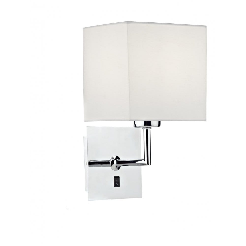 Over Bed Reading Light, Wall Light, Polished Chrome, Cream Cotton Shade
