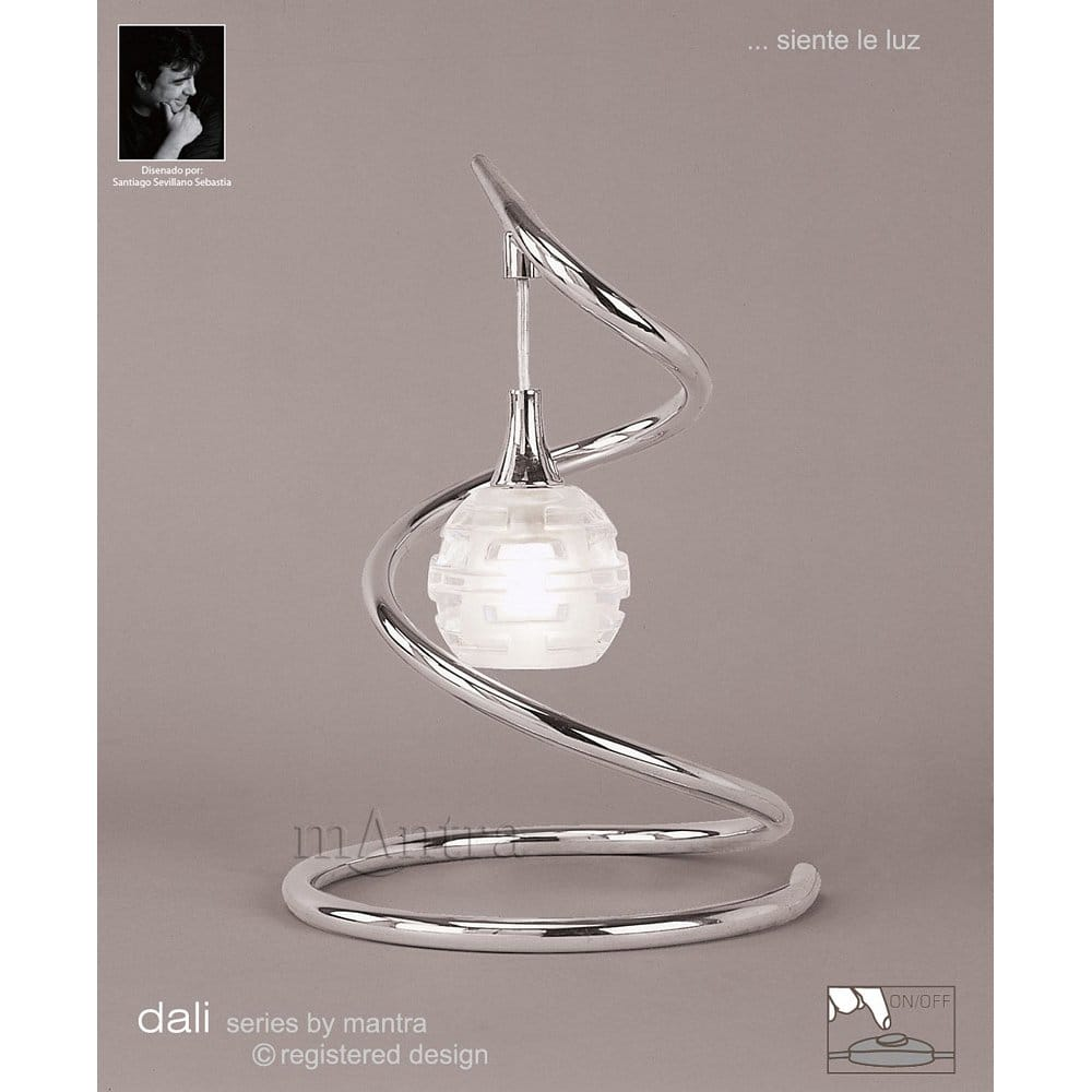 Buy table light with sculptured glass shade modern for Mantra 5 light floor lamp