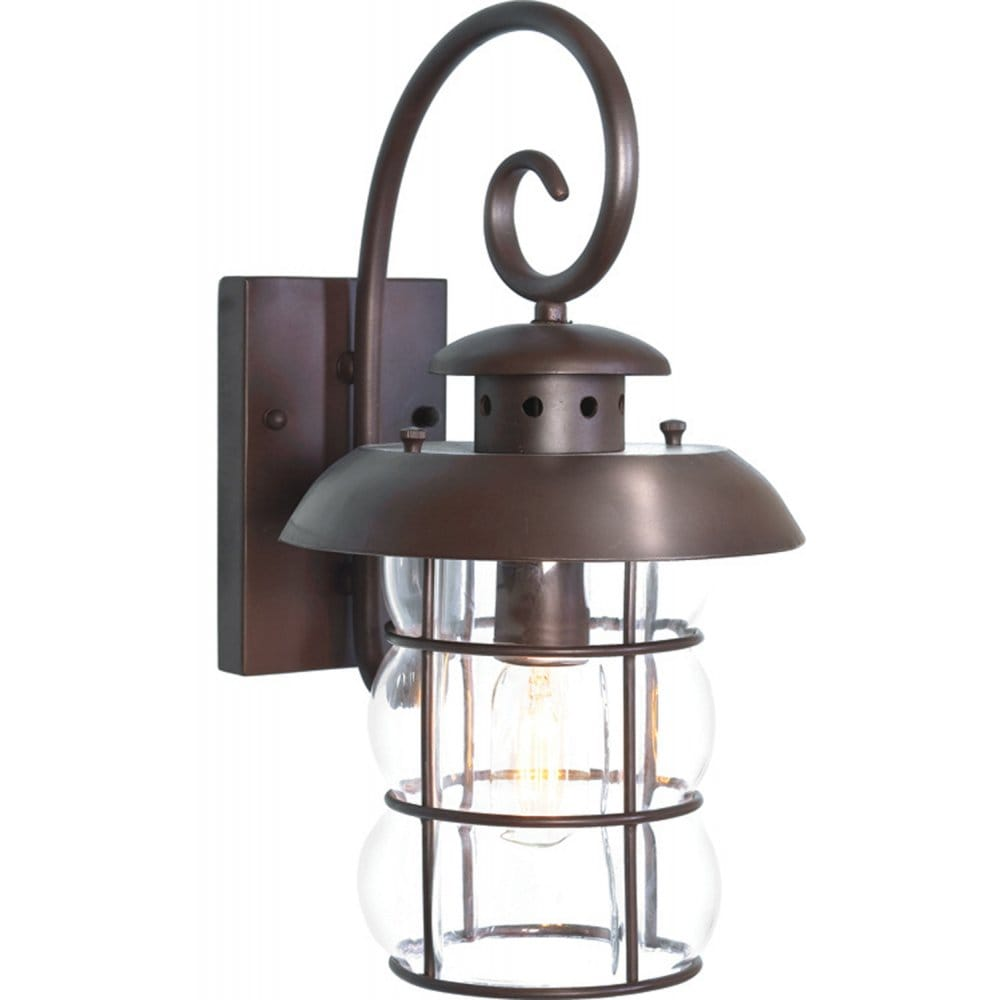 Traditional Garden Wall Lights : Traditional Wrought Iron Bronze Garden Wall Light, IP23, Porch Lantern