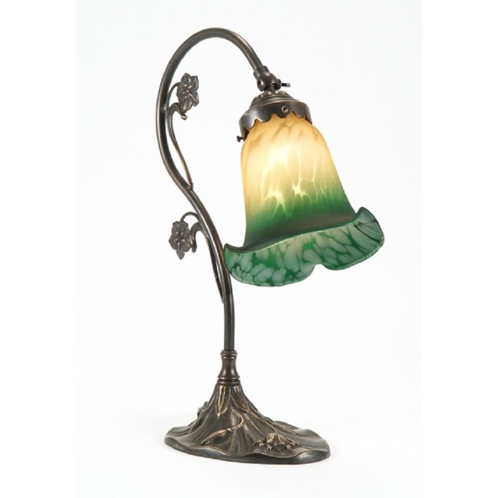 Art nouveau style victorian table lamp in aged brass with for Art deco style lamp