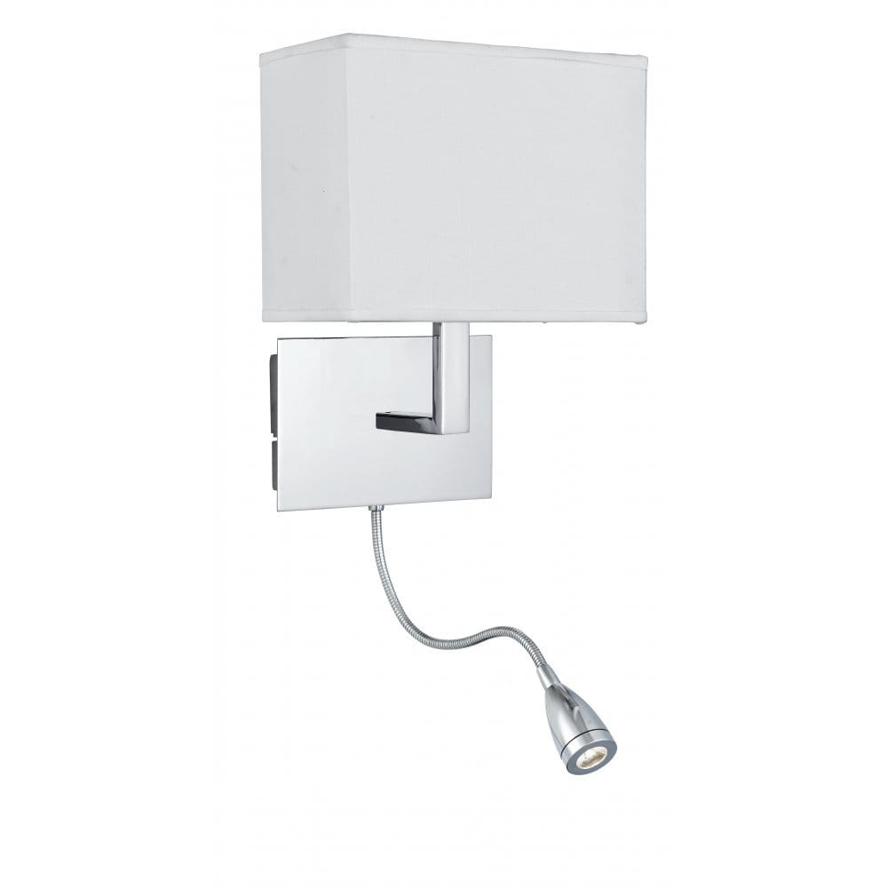 Twin Reading Wall Lights : Low Energy Over Bed Chrome Wall Light with LED Flexible Reading Arm