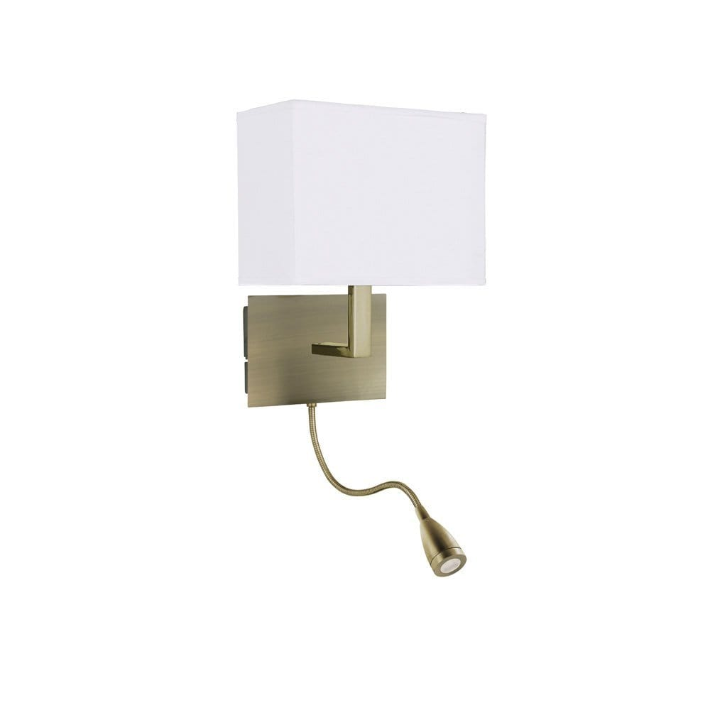 Wall Lamps With Reading Light : Antique Brass Over Bed Reading Wall Light with LED Bendy Arm Book Light