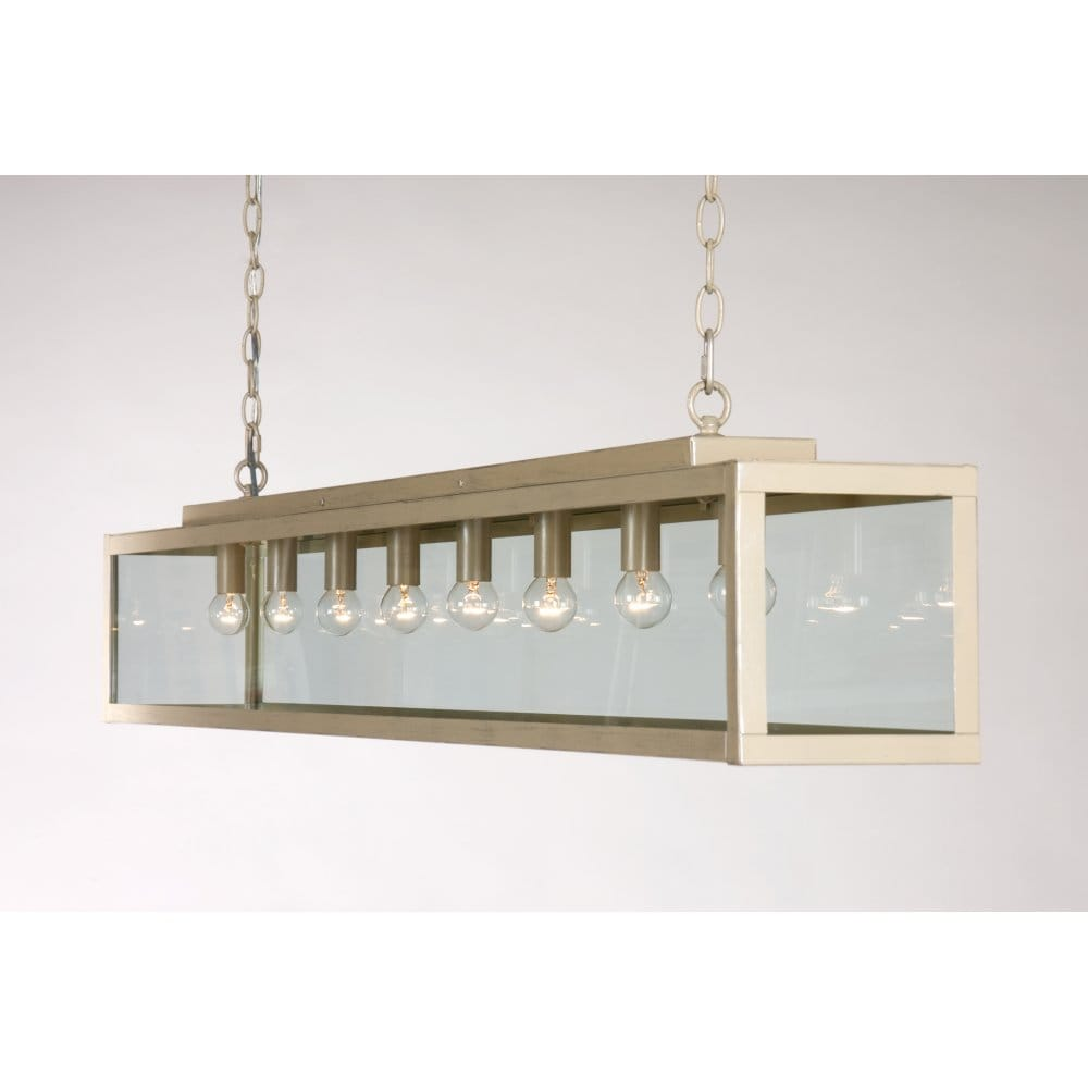 Long Bar Suspension Ceiling Pendant Light On Chains, Ivory