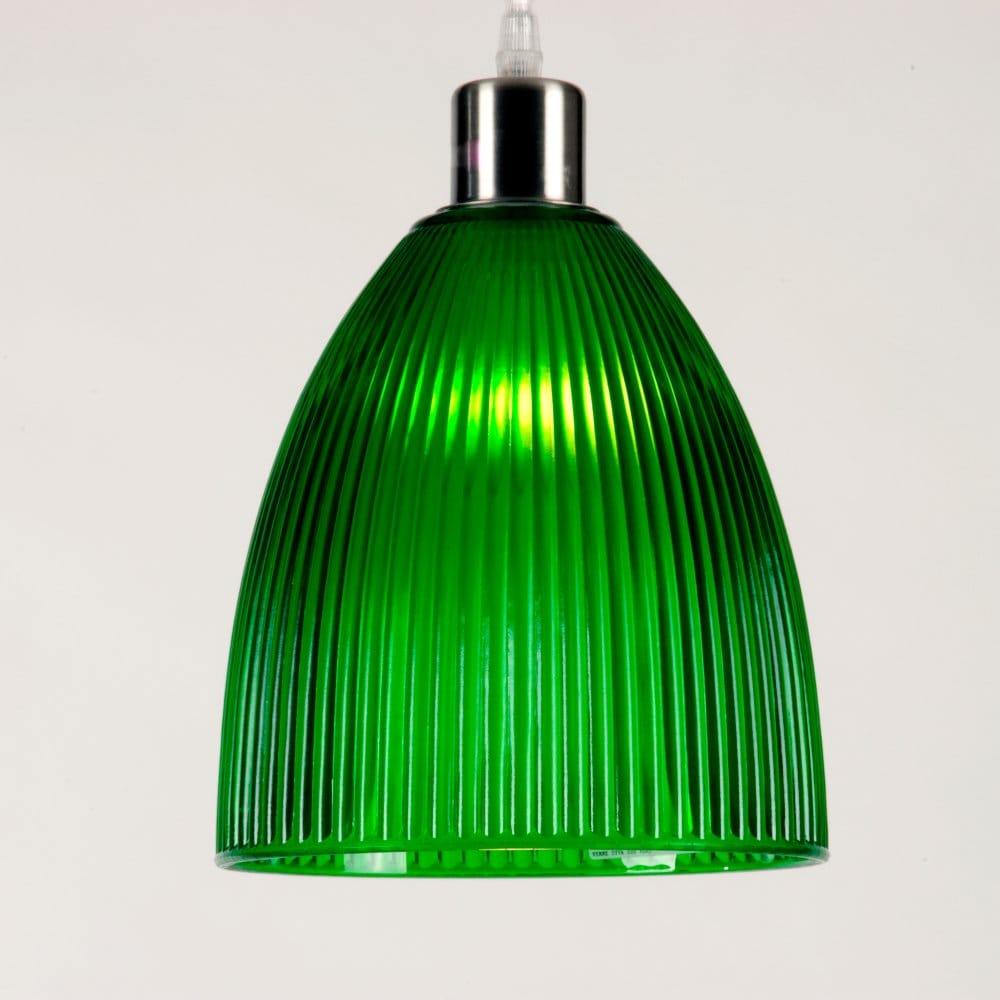 Ceiling Pendant Light Shade Ribbed Green Glass Modern