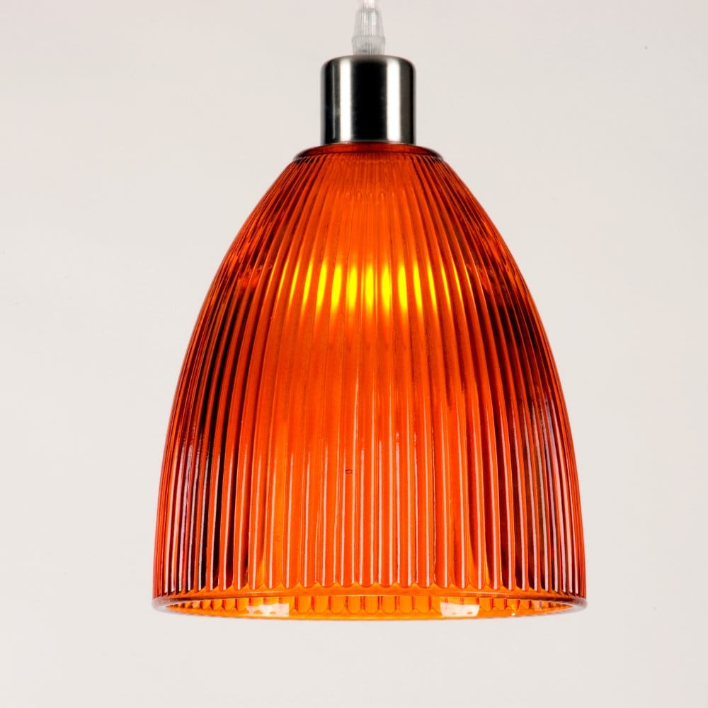 Orange Ceiling Light Shade In Ribbed Glass Ideal For